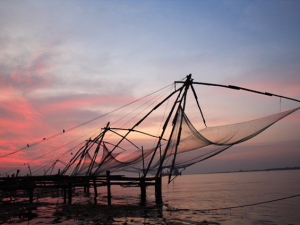 Fishing nets at Fort Kochi , Kerala , India